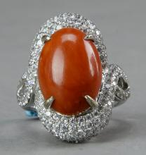 Coral Ring 17x12mm with diamonds decoration size:8.5