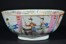 A FAMILLE ROSE FIGURAL BOWL, 19TH C.