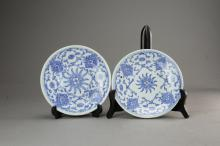 Two White Blue Dishes of Qing Dynasty