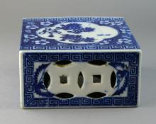 A Qing dynasty blue and white porcelain pillow