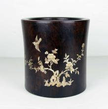 A Rosewood Brushpot with Shell Decoration