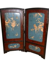 A Shell & Ivory Carved Folding Screen