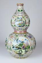 A Famille Rose Gourd Vase