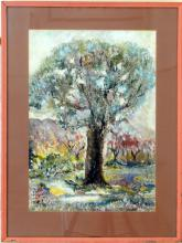 An Gouache Painting    A Childhood Tree