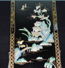 A Pair of Seashell Carved Hanging Screen of Landscape