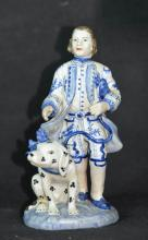 A Netherland White Blue Porcelain of Figure and Animal