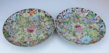 A Pair of Famille Rose Plates with Full Flowers