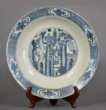 AN EXPORTED BLUE AND WHITE DISH, MING DYNASTY