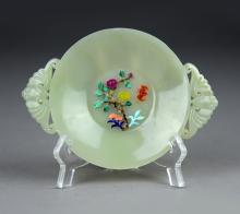 A Hetian Jade plate of Colered Agate Decoration