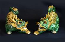 Pair of Chinese Porcelain Kylin State