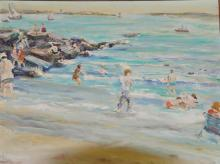 A Piece of Painting about Childron on the Beach