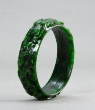 A carved chrysoprase bracelet