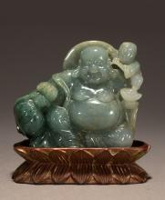 A Jadeite Buddha & a Child Decoration
