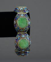Jade and Floral Enamel Cannetille Bracelet in Silver