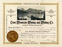 Early Twin Mountain Mining and Milling Company Stock Certificate