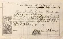 Pre-emption Certificate of Mining Claim, Colorado Territory
