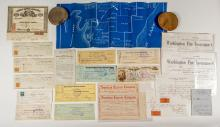 Michigan Mining Ephemera: Checks, Map, Billheads