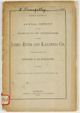 Annual Report of the James River & Kanawha Co. (Canal Transportation) (R. Pumpelly's Copy)