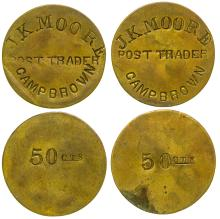 Two Camp Brown 50c Tokens (Wyoming)