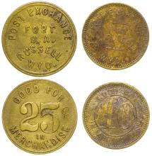 Two Different Die Struck Ft. Russell Post Trader Tokens (Wyoming)