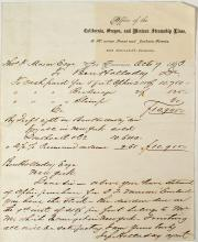 Ben Holladay Receipt for Mine Investment (proprietor of the California, Oregon & Mexican Steamship Lines)