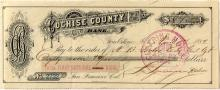 Cochise Bank Check to A.B. Forbes of New Almaden Fame
