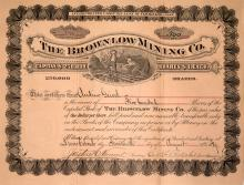 The Brown Low Mining Co. Stock Certificate, 1889