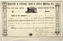Pottsville & Colorado Gold & Silver Mining Company Stock Certificate