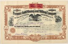 Premier Gold Mining & Milling Company stock certificate