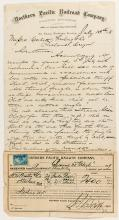 Northern Pacific Railroad Co. Letter and Freight Receipt
