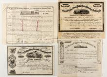 Four EARLY, different stocks: passenger RR, street RR, turnpike road and steamer