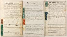 Three Nevada Revenue Stamp Documents (10, 25 and 50 cent)