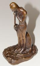 Native American Figure Playing Flute Bronze Statue by E.W. Deming