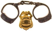 Virginia City Chief of Police and Fire Badge and Handcuffs