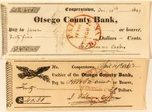 Two Checks Signed by American Author James Fenimore Cooper