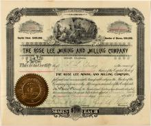 The Rose Lee Mining and Milling Company Stock Certificate