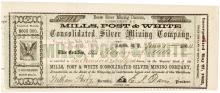 Nevada Territory Mills, Post & White Stock Certificate