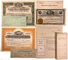 9 Pioneer District Documents: stocks, certificate porpectus, etc.