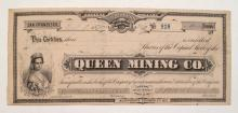 Queen Mining Company (G. T. Brown) Stock Certificate
