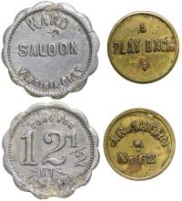 Two Virginia City saloon tokens including the Ward Saloon