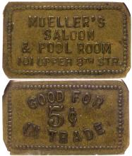 Mueller's Saloon & Pool Room token