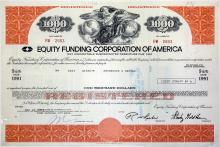 Equity Funding Corporation of America $1000 Bond- Wall Street Fraud