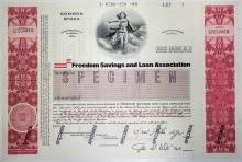 Freedom Savings and Loan Association Specimen Stock Certificate