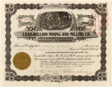 Lead-Bullion Mining and Milling Co. Stock Certificate