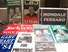 Lot of 8 political posters: Gary Hart, Jesse Jackson, Jimmy Carter, LBJ, Reagan and Bonzo, Mondale/Ferraro