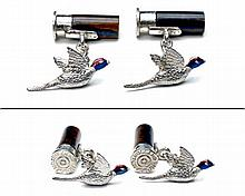 † HOLLAND & HOLLAND A PAIR OF STERLING SILVER AND TIGER'S EYE 'CARTRIDGE & PHEASANT' CUFFLINKS,