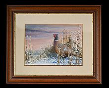 MARK CHESTER (F.W.A.S.) 'PHEASANTS IN WINTER'