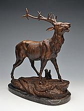 A BRONZE OF A BRAYING STAG,