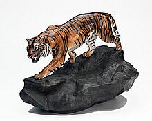 A RARE LARGE ROYAL DOULTON 'TIGER ON A ROCK' (PRESTIGE) HN2639,