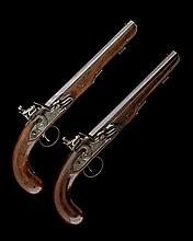 * KNUBLEY, LONDON A PAIR OF 25-BORE FLINTLOCK DUELLING PISTOLS, no visible serial numbers,